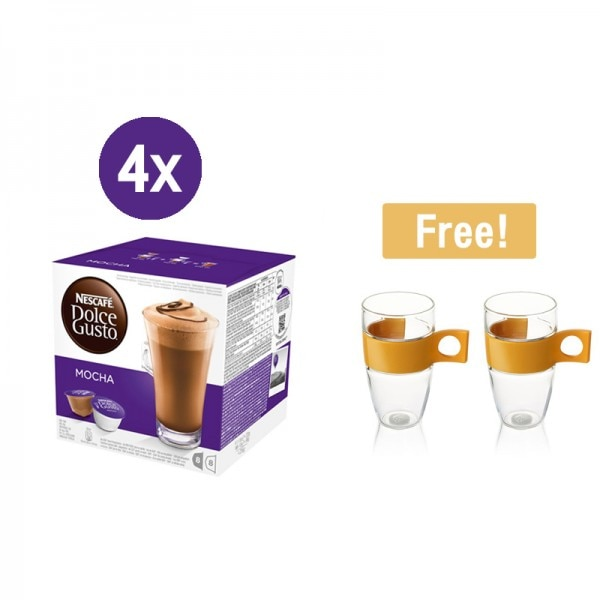 4x Mocha Free! Pop Glass Latte